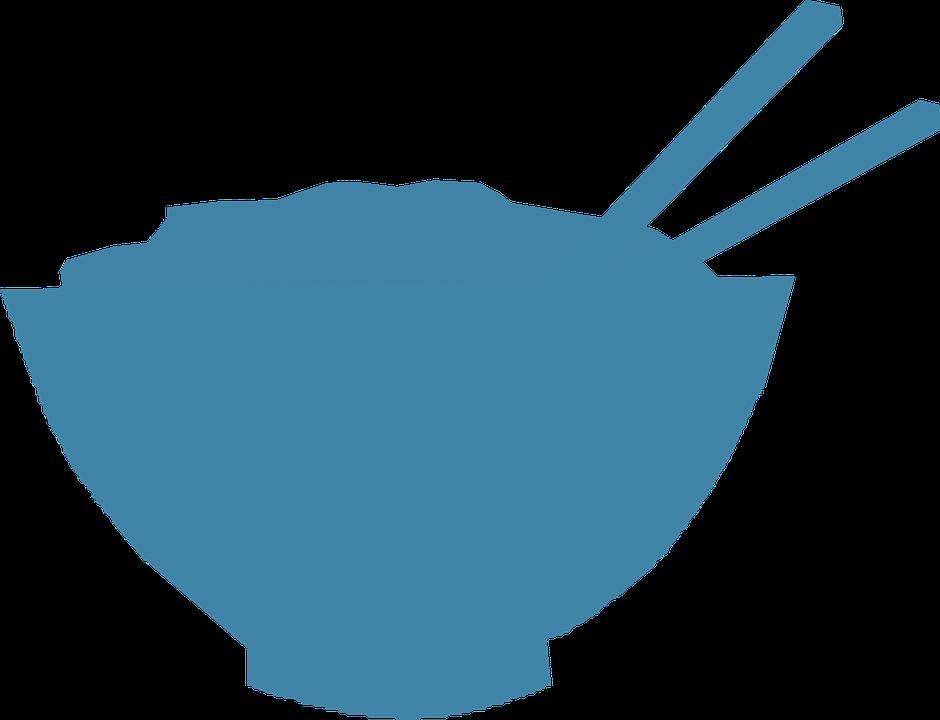 Chopsticks, Bowl, Rice, Chinese, Black, Food
