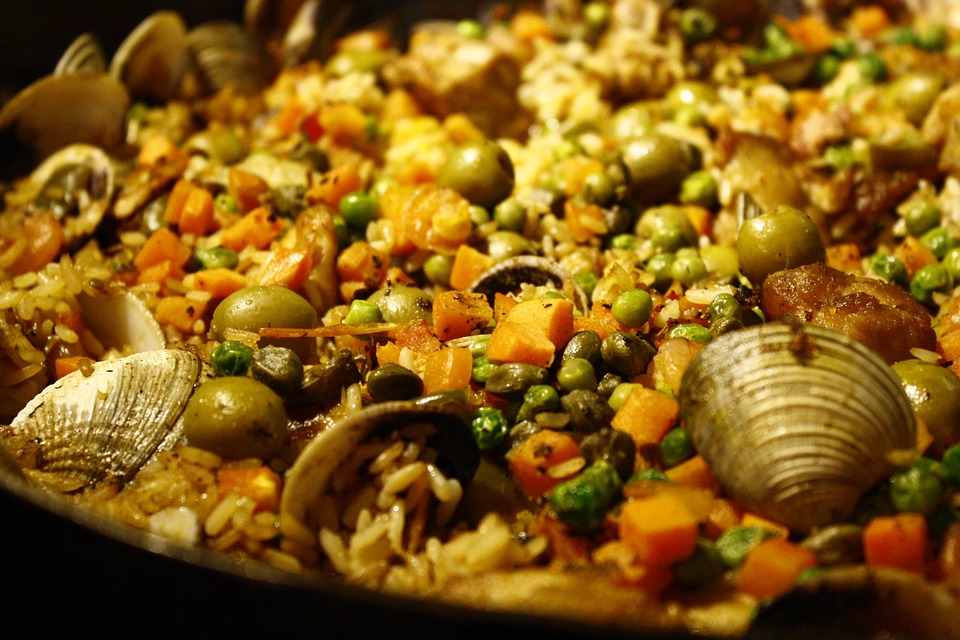 Paella, Oysters, Clams, Peas, Carrot, Rice, Food