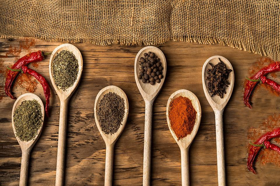 Spices, Spoon, Pepper, Food, Wood, Food Design, Table