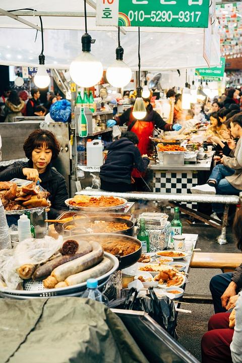 Street Market, Market, Sale, Food, Eat, Sausage, Seller