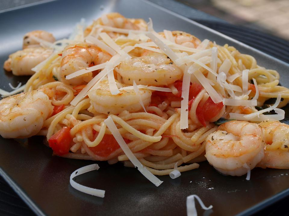 Pasta, Noodles, Crabs, Shrimp, Dine, Eat, Food, Italian