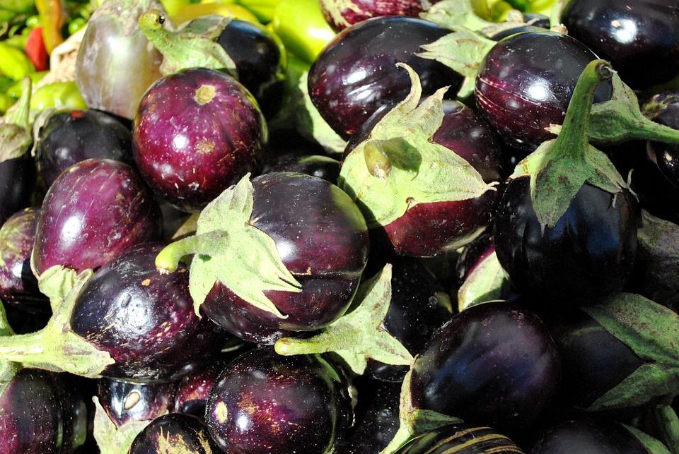 Eggplants, Vegetables, Farmers Market, Purple, Food