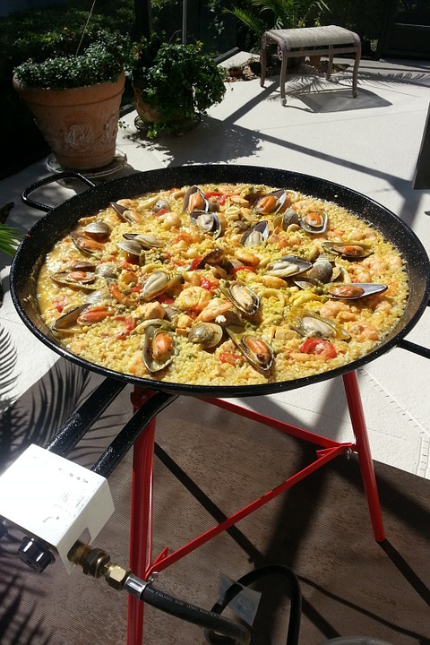 Paella, Spanish Paella, Fire, Spain, Food, Rice