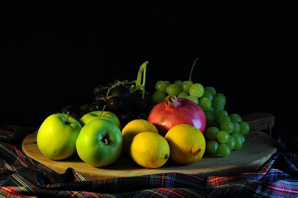 Fruit, Grapes, Lemon, Food, Apple, Pomegranate, Tray