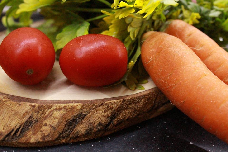 Tomato, Carrot, Parsley, Red, Green, Orange, Food