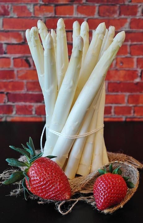 Asparagus, Strawberries, Spring, Market, Food, Garden
