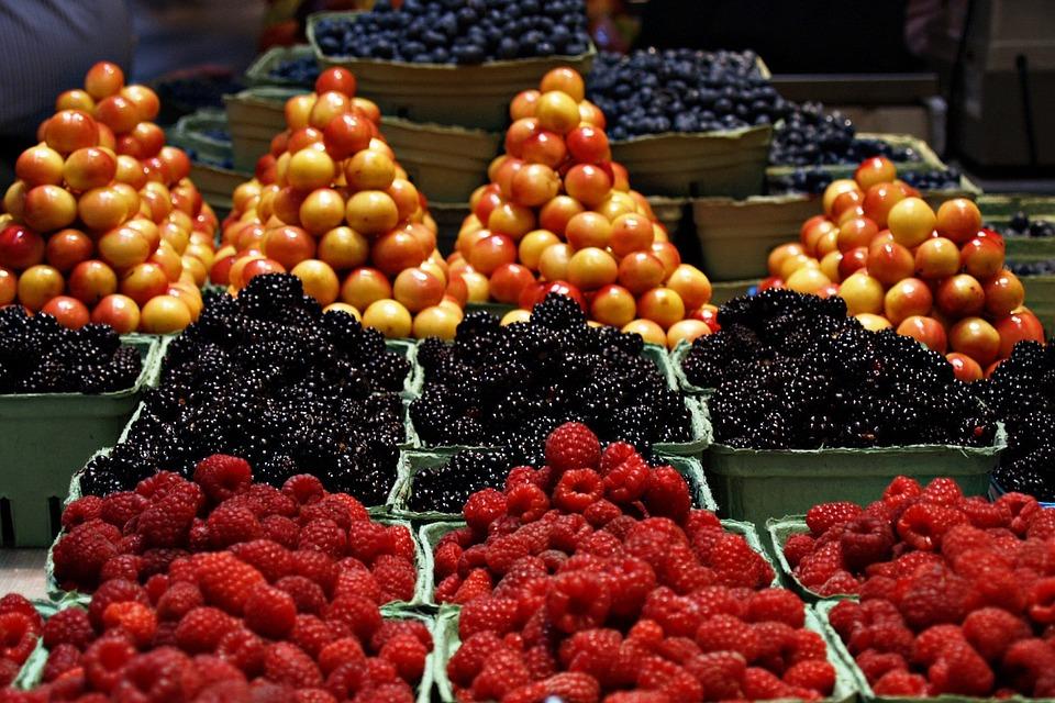Fruits, Food, Market, Market Stall, Raspberries