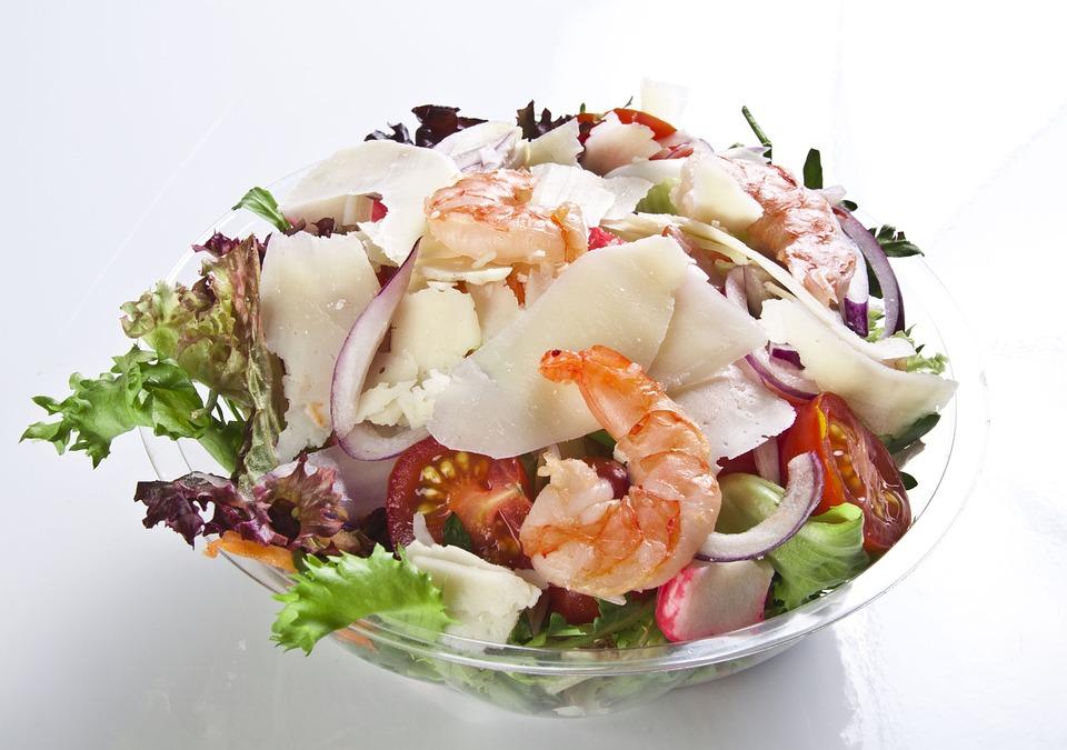 Salad, Bowl, Meal, Shrimps, Cheese, Tomato, Fresh, Food