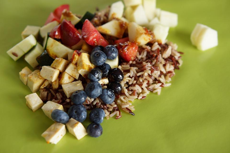 Poke Bowl, Mixed Food, Blueberries, Rice, Food, Eating