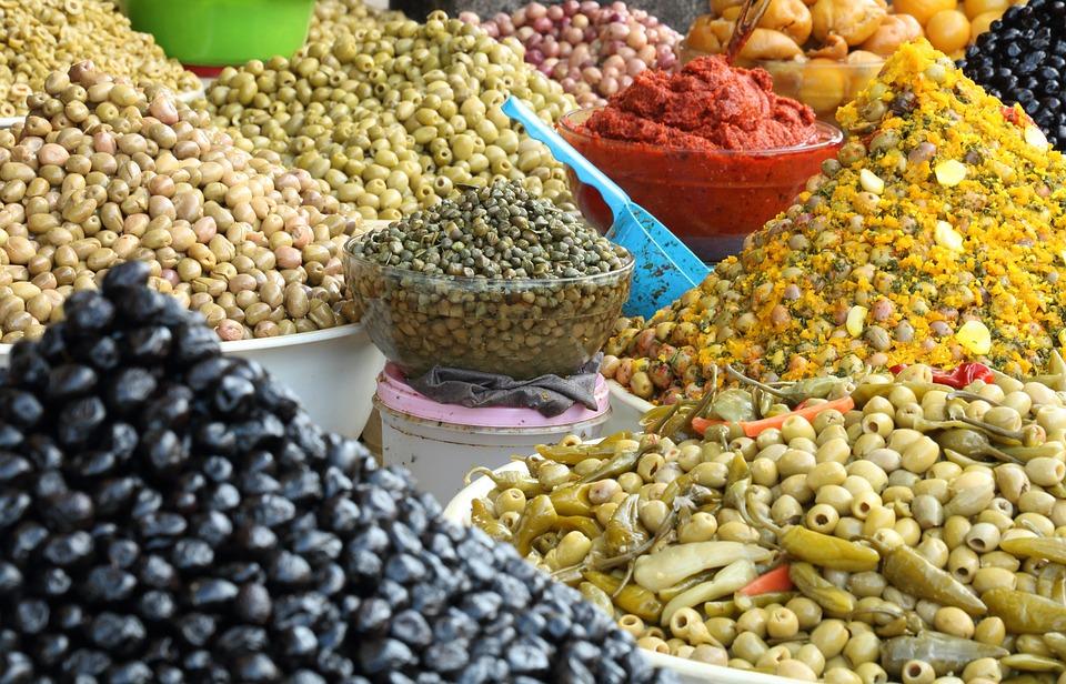 Morocco, Essaouira, Food, Olive, Market, Spice, Pepper