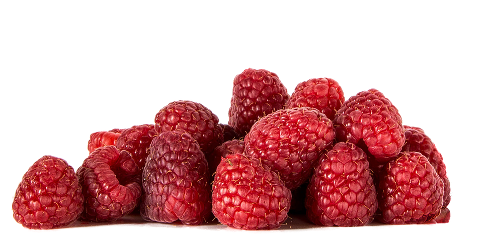 Raspberries, Fruit, Isolated, Food, Healthy, Vitamins