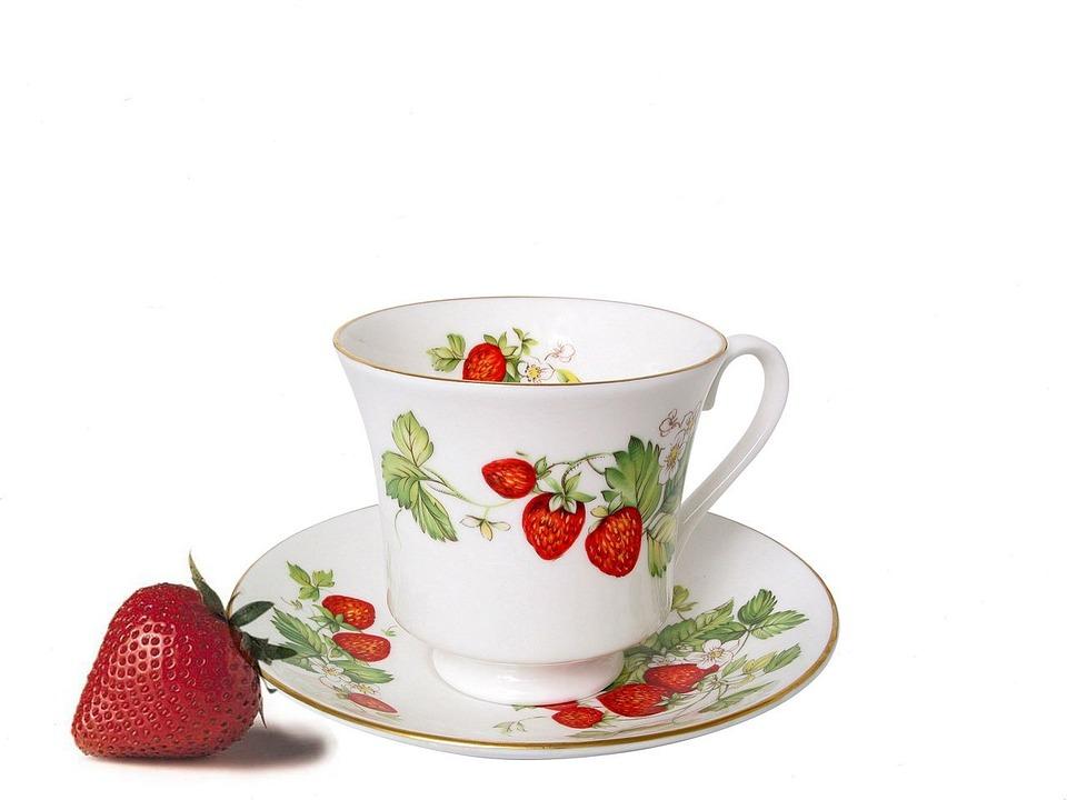 Cup, Saucer, Porcelain, Strawberry, Food, Spring