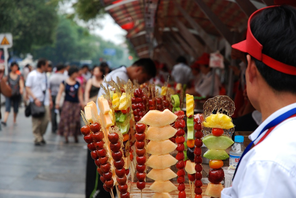 Food, Stall, China, Market, Colorful, People, Stand