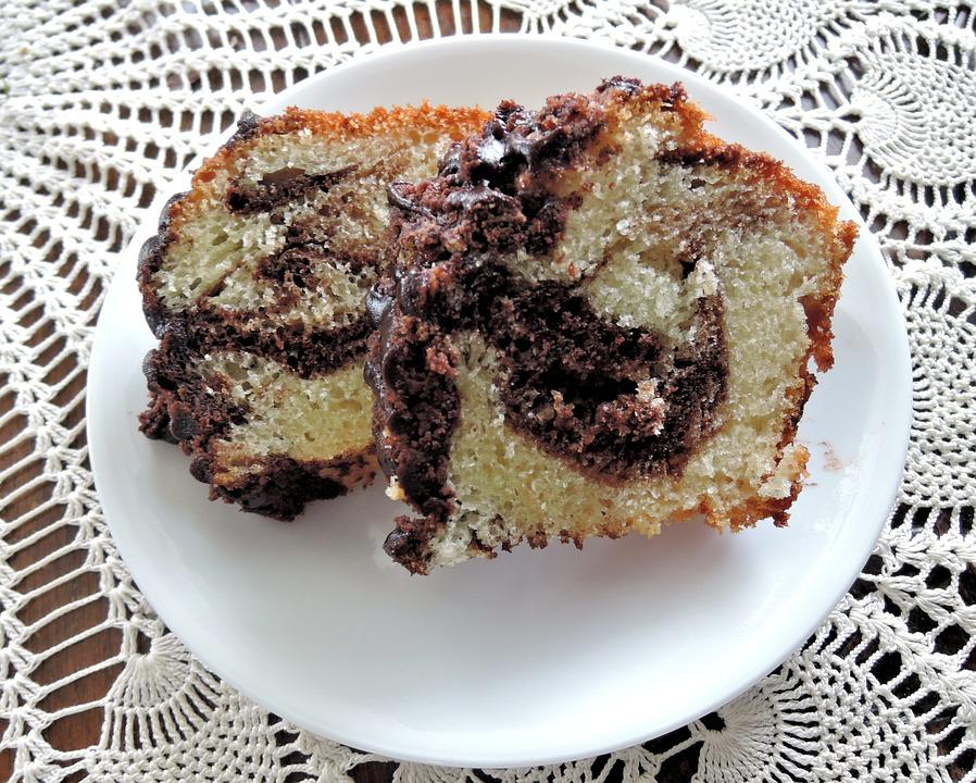 Marble Bundt Cake, White, Chocolate, Sweet, Baked, Food