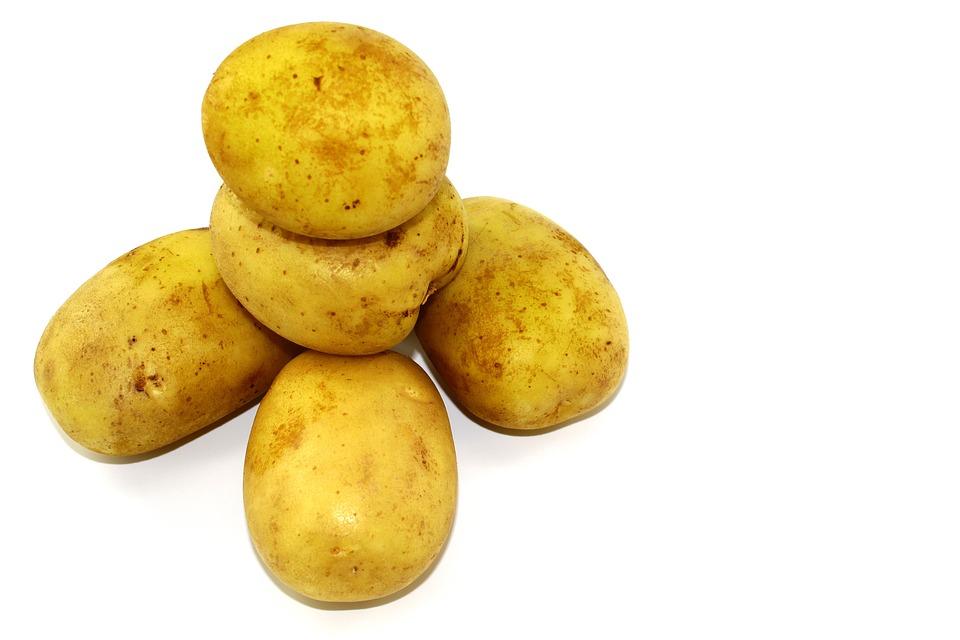 Vegetables, Food, White Background, Potatoes, Skinned