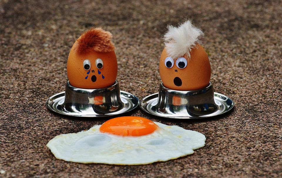 Egg, Fried, Mourning, Fun, Funny, Cute, Food, Yolk