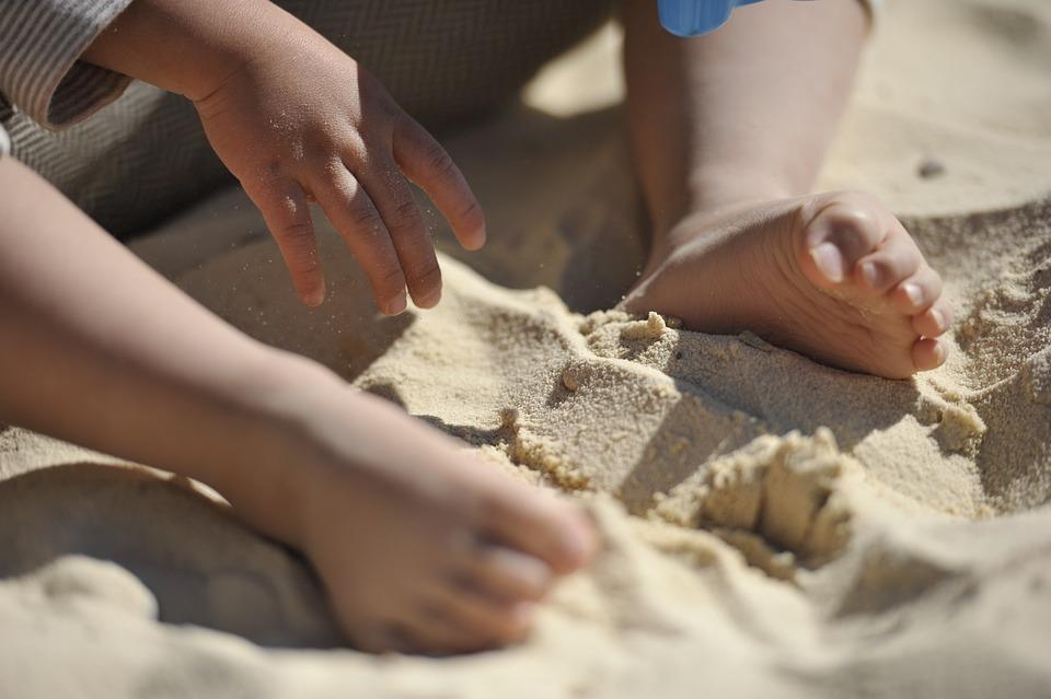 Foot, Child, Beach