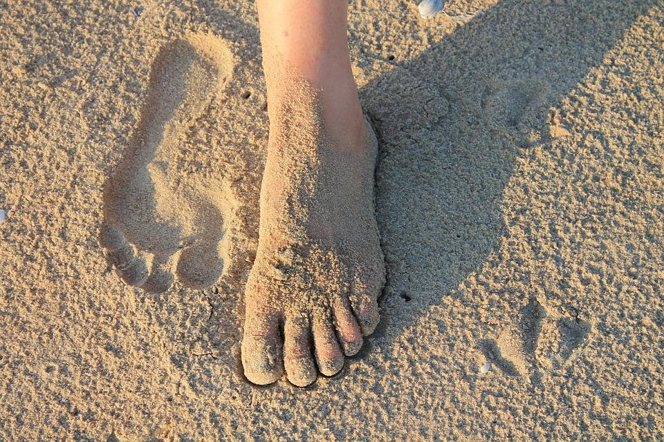 Foot, Sand, Footprint