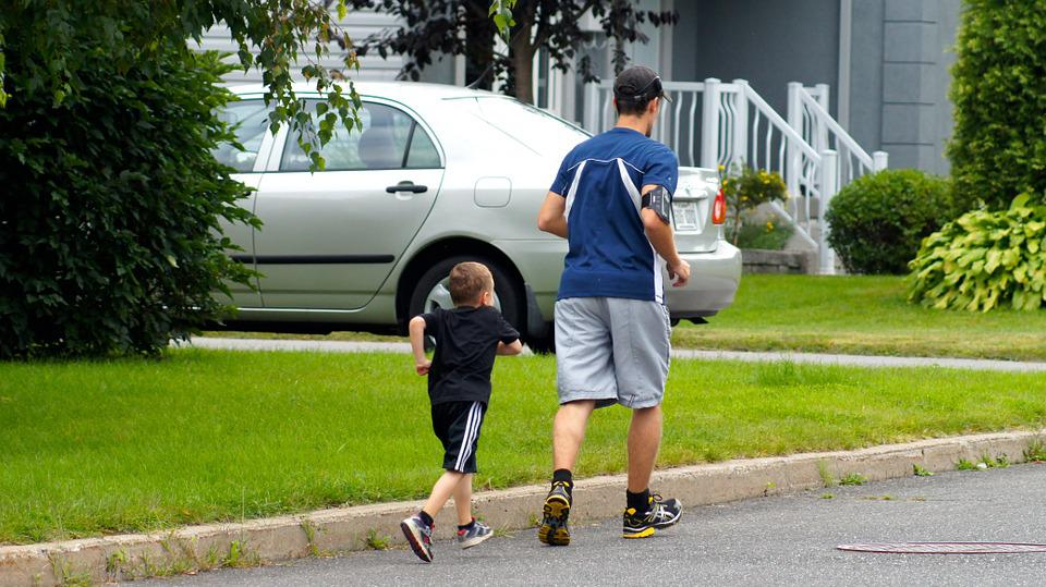 Foot Race, Sport, Training, Father, Son, Healthy Life