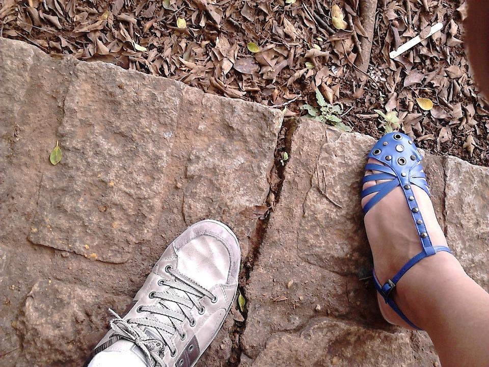 Shoe, Stone, Brown, Blue, Foot, Sandal, Human