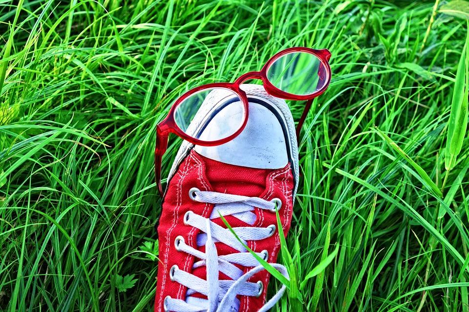 Foot, Shoe, Sneaker, Glasses, Grass, Foot In Grass