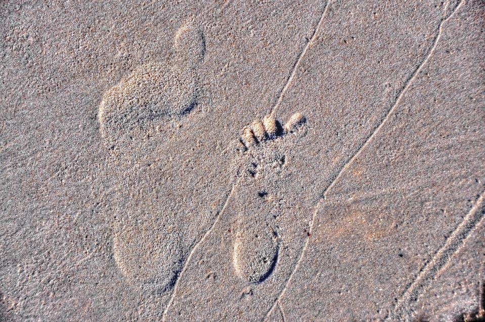 Foot Step, Sand, Sea