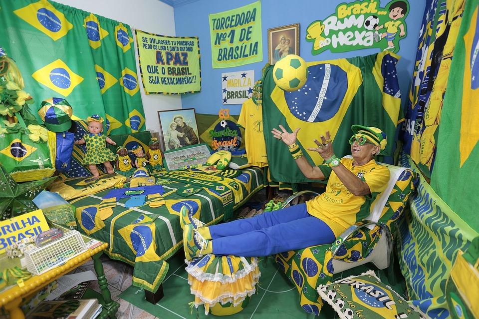 Brazil, Fan, Football, Happy, Celebrate