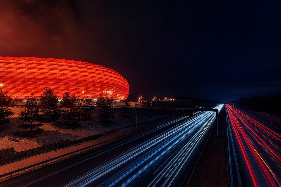 Football, Stadium, Highway, Light Strips, Ball, Sport