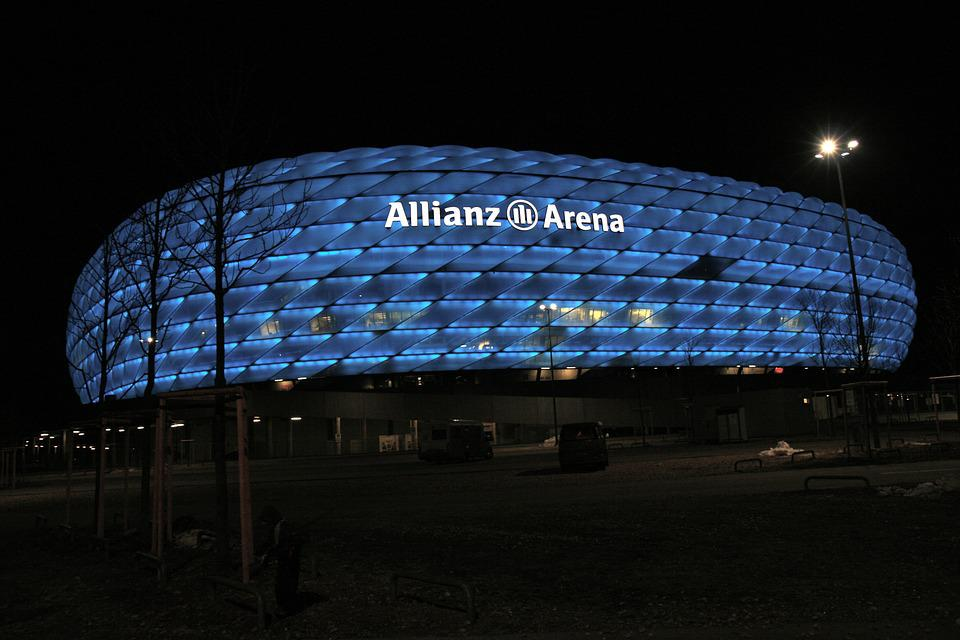 Bavaria, Munich, Germany, Arena, Football, Night