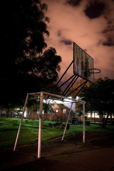 Court, Old, Basquetballl, Football, Night, Sport