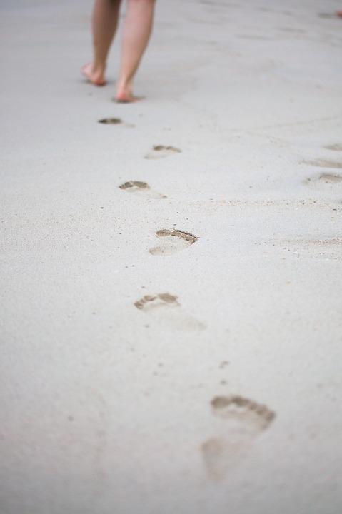 Footsteps, Go, Reprint, Sand, Run, Away, Footprint