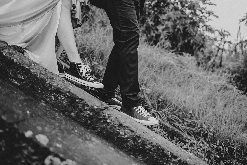 Black And White, Pathway, Legs, Shoes, Footwear, Couple