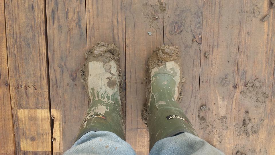 Muddy, Boots, Soil, Shoe, Wellies, Footwear, Dirt