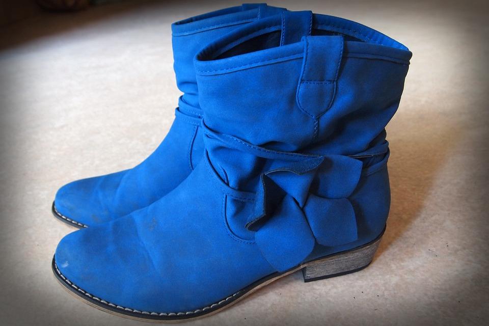 Boots, Learn, Footwear, Winter, Blue, Bow, Heel