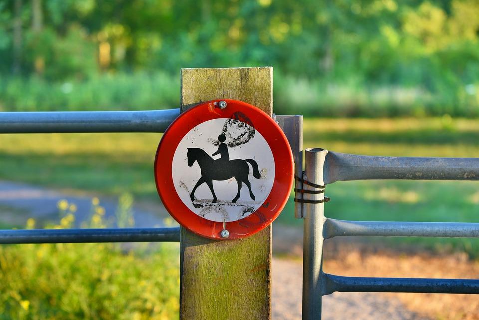 Horses Prohibited, No Horse Riding, Forbidden, Sign