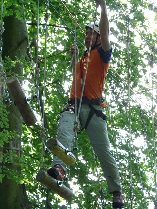 Force, High Ropes Course, Effort, Climb, Difficult
