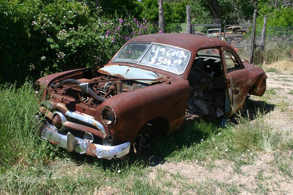 Ford, Abandoned, Car, Automobile, Rusted, Junk, Weeds