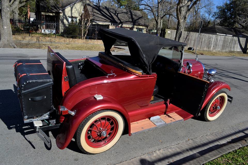 Vintage, Ford, Model A, Rag Top, Car, Drop Top, Red
