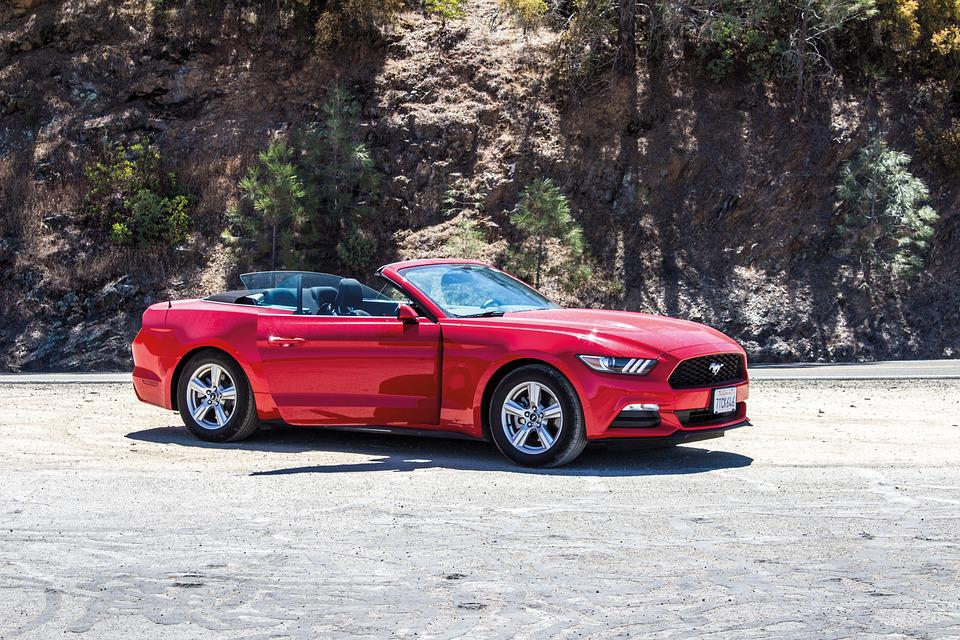Drive, Car, Red, Ford Mustang, Natural, Rocks, Open