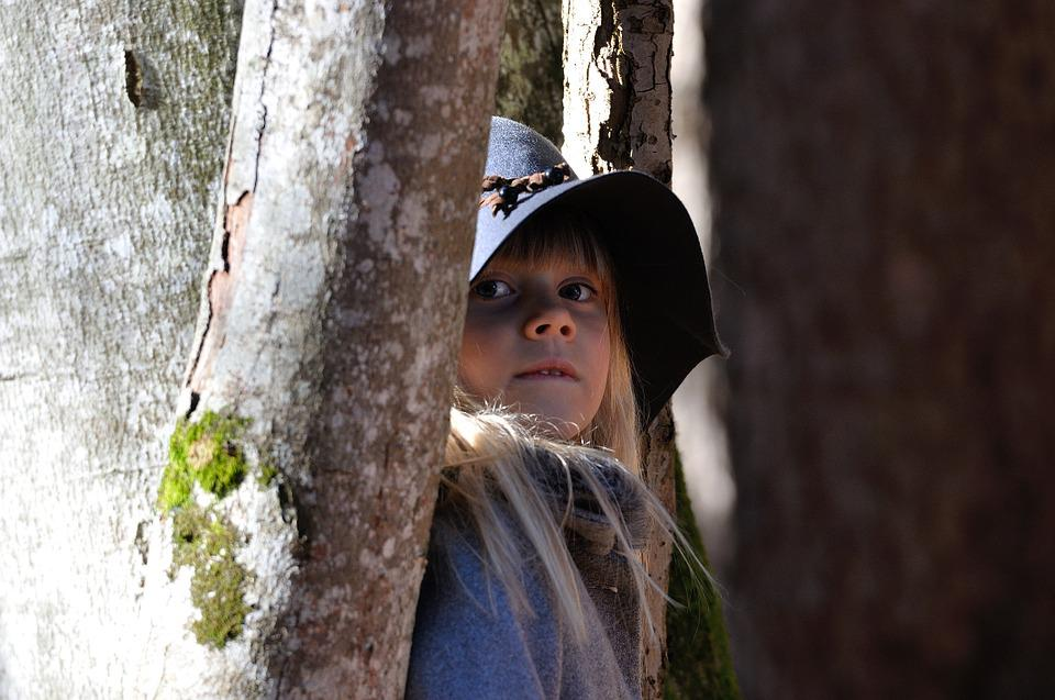 Girl, Blond, Child, Hat, Trees, Forest, Hidden, Hide