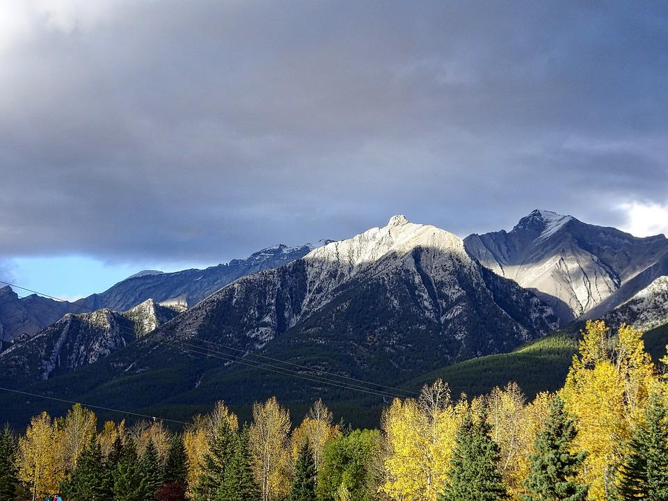 Light, Autumn, Mountains, Forest, Rockies, Canada