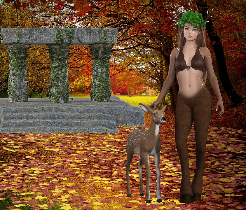 Fantasy, Autumn, Fauna, Deer, Forest, Ruins, Rendering