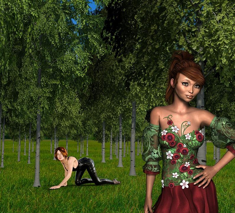 Women, Forest, Flower, Plant, Face, Beautiful