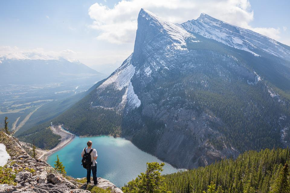 Canadian Rockies, Clouds, Foliage, Forest, Hiker, Lake
