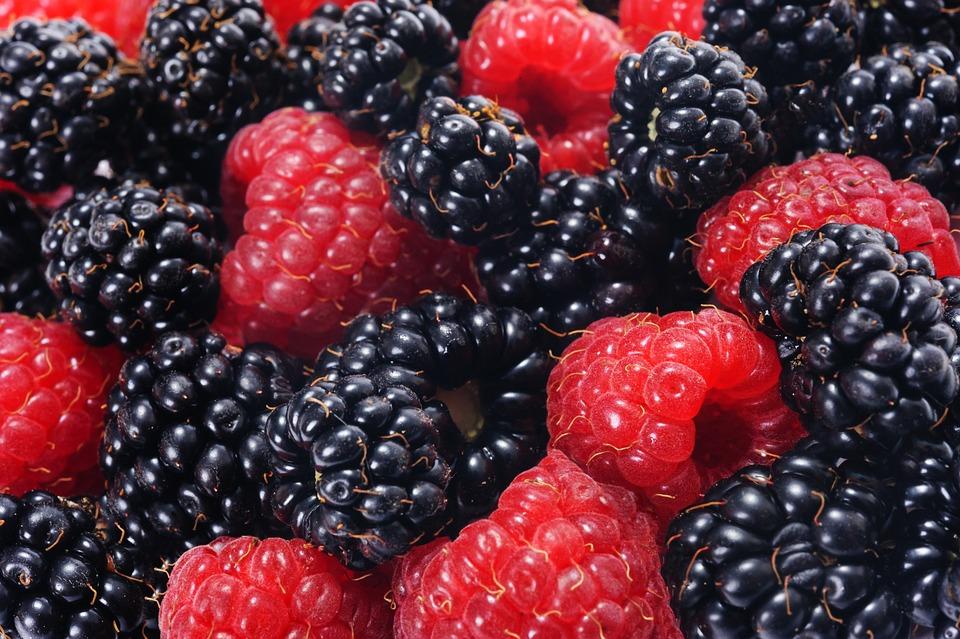 Raspberries And Blackberries, Forest Fruits, Closeup