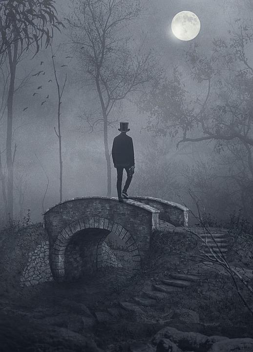 Man, Bridge, Forest, Full Moon, Woods, Night, Top Hat