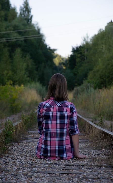Girl, Plaid Shirt, Railway, Train Tracks, Forest