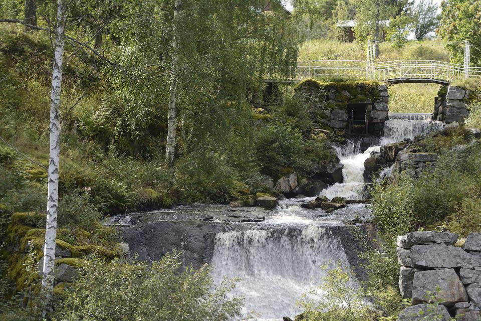 Sweden, Waterfall, Green, Trees, Water, Nature, Forest
