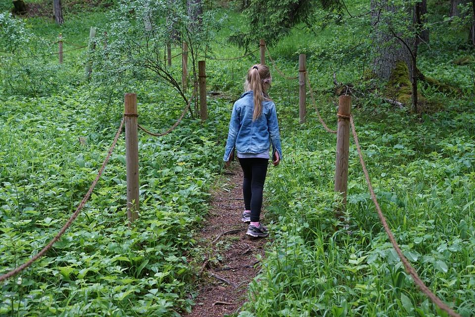 Girl, Garden, Away, Child, Hiking, Run, Forest, Nature