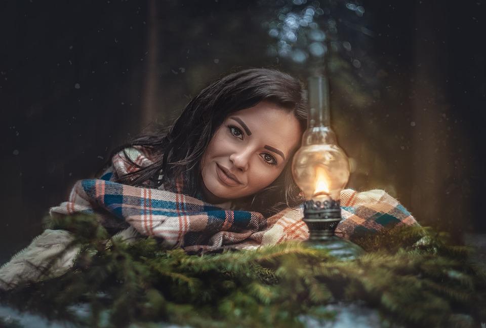 Girl, Forest, Kerosene Lamp, Lamp, Light, Night
